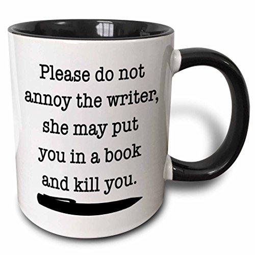3dRose Please Do Not Annoy The Writer Black - Two Tone Black Mug, 11oz (mug_223960_4), 11 oz, Black/White